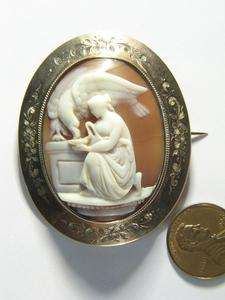 ANTIQUE 9K GOLD CARVED NATURAL SHELL CAMEO BROOCH PIN HEBE ZEUS c1870