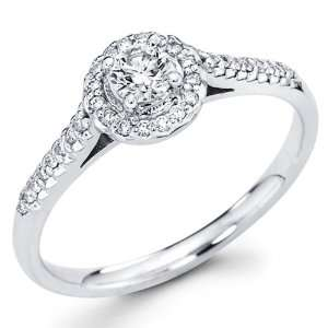 14K White Gold Round cut Diamond Wedding Engagement Ring