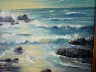 Vintage Original Signed Seascape California Art Oil Painting On Canvas