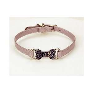 Lilac Leather Swarovski Crystal Bone Dog Collar (Medium