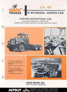 1980 Mack Model R/RD CA49 Tractor Truck Brochure