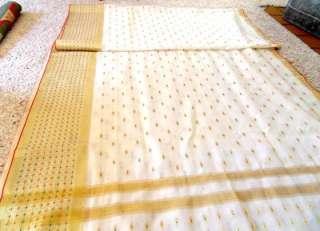 Silk Wedding Sari Gold Threads Hand Numbered Hand Loomed 1950s