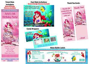 Little Mermaid ~ Birthday Party Ticket Invitations, Supplies, Favors