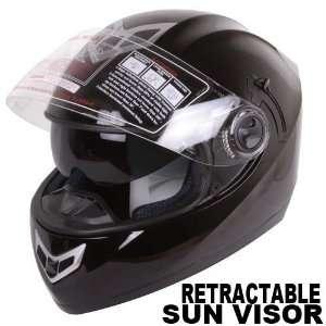 Dual Visor Gloss Black Full Motorcycle Helmet DOT (Medium