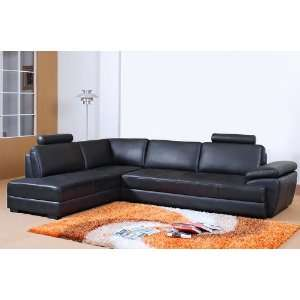 Modern Black Full Leather Sectional Sofa   LSF