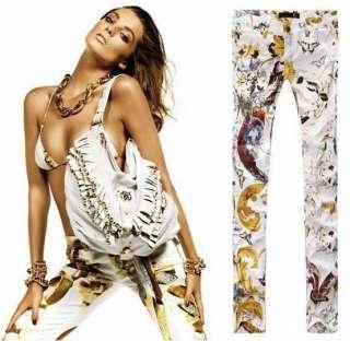 HOT SALE New COOL Designer Floral Print Pencil Pants Skinny Jeans
