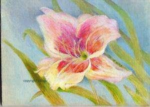 ORIGINAL FLOWER ART DAYLILY ACRYLIC PAINTING 5 by 7