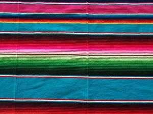 LARGE LIGHT BLUE MEXICAN SARAPE BLANKET RUG THROW RUG