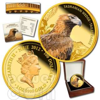 TASMANIAN WEDGE TAILED EAGLE Extinct Endangered 1oz Gold Proof Coin