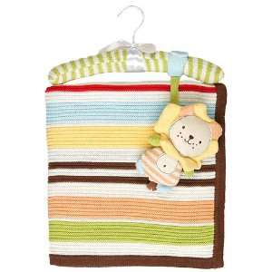Cotton Knitted Blanket & Toy   Extra Large   Brown Stripes, Ziggy Lion