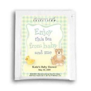Baby Shower Tea Favors  Gingham Neutral Personalized Tea