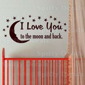 LOVE YOU TO THE MOON AND BACK 15 STARS Quote Vinyl Wall Decal Decor