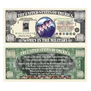 WOMEN IN THE MILITARY COMMEMORATIVE MILLION DOLLAR BILL Toys & Games