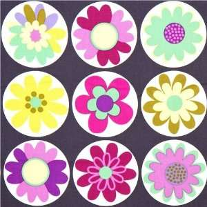 grey Michael Miller fabric big daisies Arts, Crafts & Sewing