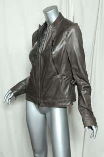 VINCE Grey Collarless Zip Front LAMBSKIN LEATHER Motorcycle Jacket