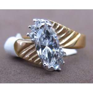 SIZE 8 Ladies FASHION RING w Gold Plated BAND & Marquise Shape Cubic