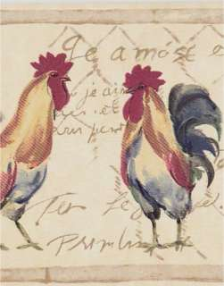 French Country Roosters Wallpaper Border Cream