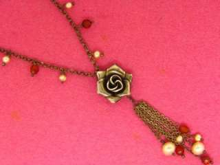 STERLING SILVER GENUINE PEARL CARNELIAN ROSE FLOWER TASSEL VINTAGE