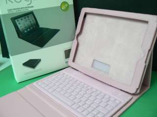 Wireless Bluetooth Keyboard Leather Stand/Case For Apple iPad 1 Pink