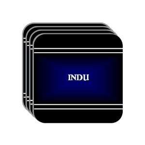 Personal Name Gift   INDU Set of 4 Mini Mousepad Coasters (black