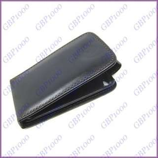 Black Leather Flip Case Pouch for Apple iPod Touch 4 4G