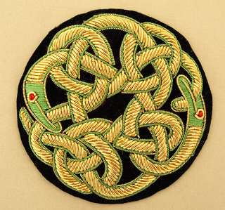 Hand Embroidered Applique. Irish Celtic Knot Dragons