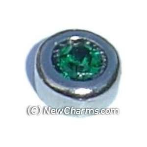 Round Birthstone May Floating Locket Charm Jewelry