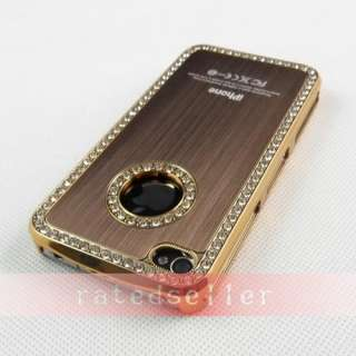 Diamond Crystal Hard Case Cover Apple iPhone 4 4S 4G Brown