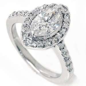 1.40CT Marquise Halo Diamond Engagement Ring White Gold