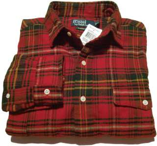 NWT Polo Ralph Lauren Mens Plaid Flannel Button Shirt Red/Green M