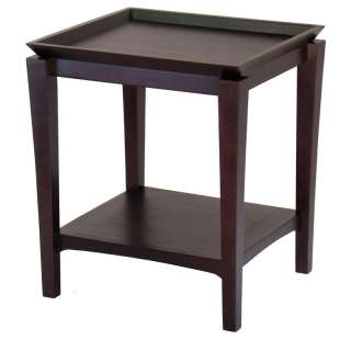 Finley Contemporary Square Wood End Table Unique Tray