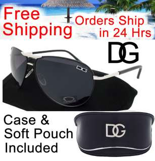 DG Designer AVIATOR Sunglasses High Fashion BLACK With DG CASE & Soft