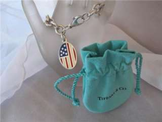 Tiffany & Co. American Flag Tag Charm S/Silver Bracelet