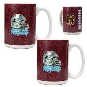 Carolina Panthers NFL 2pc Gameball Ceramic Mug Set   Helmet logo