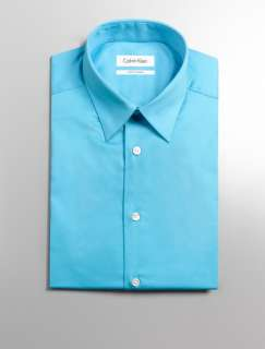 NWT Calvin Klein Body Slim Fit Dress Shirt Button Down Turquoise 16.5