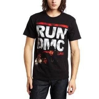 Run DMC   Distressed Logo Juniors T Shirt Clothing