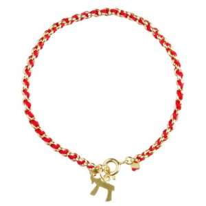 Kabbalah Red String Bracelet woven in Gold with Hai (Life