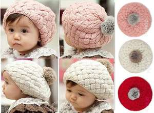 New Cute Winter Knit Crochet Beanie Hat For Baby Kids Girls Gift