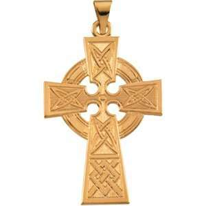 Designer Jewelry Gift 14K Yellow Gold Large Celtic Cross Pendant