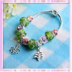 Green White Ribbon Big Beads Colorful Rhinestone Xmas Chain Bracelet