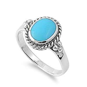Rhodium Plated Sterling Silver Wedding & Engagement Ring Turquoise