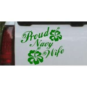 Proud Navy Wife Hibiscus Flowers Military Car Window Wall Laptop Decal