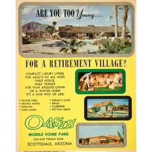 1962 Ad Oasis Mobile Home Park Retirement Village Scottsdale Arizona