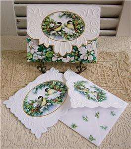 Carol Wilson Winter Chickadees in Holly Boxed Set 10 Blank Note Cards