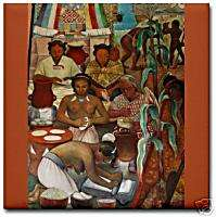 Diego Rivera Mural Indian Culture Corn Ceramic Art Tile