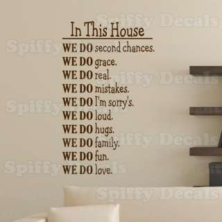 IN THIS HOUSE WE DO FUN LOVE FAMILY LOUD HUGS Quote Vinyl Wall Decal