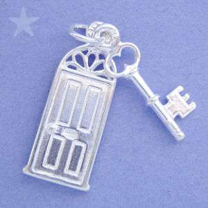 FRONT DOOR & KEY NEW HOME Sterling Silver Charm Pendant