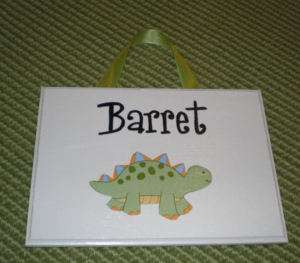 LIL DINO Baby Personalized Door Sign mw Lambs & and Ivy