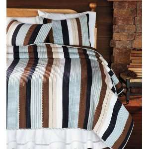 Striped Blue and Brown Twin Cotton Quilt