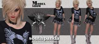 SC124 Cropped Half Black Punk Rock T shirt Top Gothic
